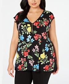 Calvin Klein Plus Size Floral-Print Sleeveless Top