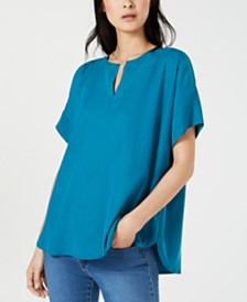 Eileen Fisher Split-Neck Tencel Short-Sleeve Top