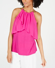 Thalia Sodi Ruffled Chain-Neck Top, Created for Macy's
