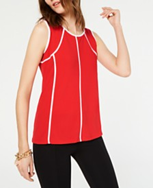 Alfani Petite Piped-Trim Top, Created for Macy's