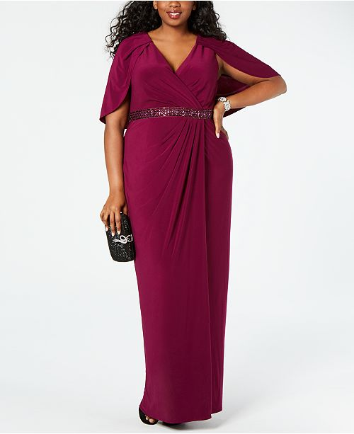 Plus Size Embellished Capelet Gown