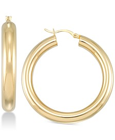 Polished Hoop Earrings in 18k Gold over Sterling Silver