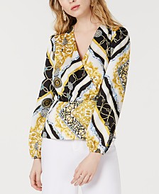 I.N.C. Chain-Print Surplice Blouse, Created for Macy's