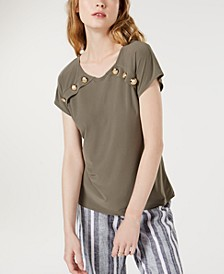 INC Button-Accent Top, Created for Macy's