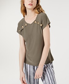 I.N.C. Button-Accent Top, Created for Macy's