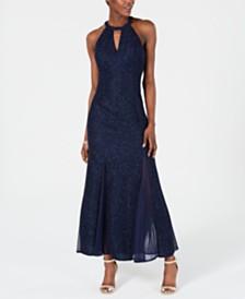 Nightway Petite Keyhole-Neck Halter Glitter Gown