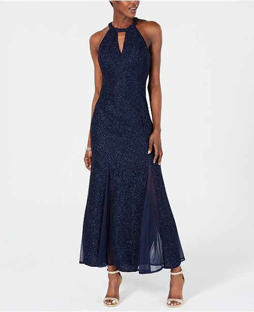 Nightway Glitter-Knit Teardrop Gown, Regular & Petite Sizes