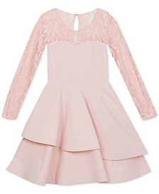 Rare Editions Big Girls Lace & Scuba Crepe Asymmetrical Dress