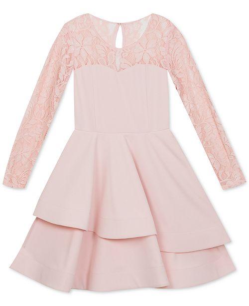 Rare Editions Big Girls Lace & Scuba Crepe Asymmetrical Dress