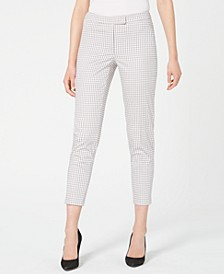 Checked Faux-Pocket Mid-Rise Pants