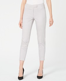 Anne Klein Checked Faux-Pocket Mid-Rise Pants