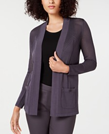 Anne Klein Malibu Pointelle Open-Front Sweater
