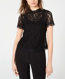 Anne Klein Lace Back-Zipper Short-Sleeve Top