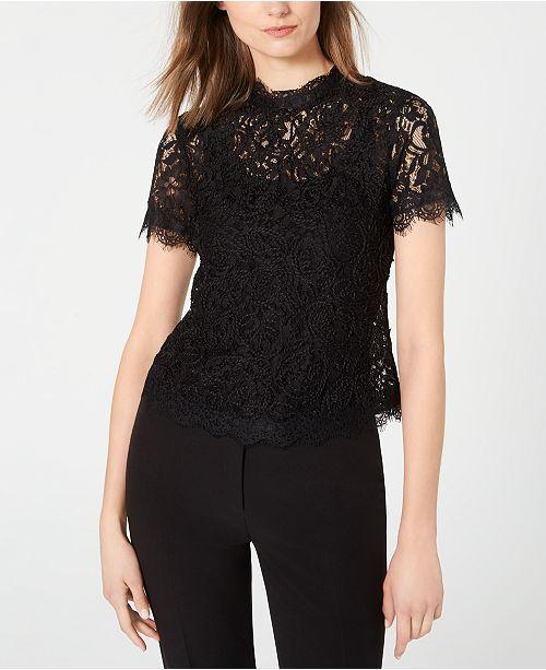 Anne Klein Lace Back-Zipper Short-Sleeve Top