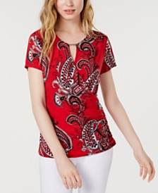 I.N.C. Hardware Paisley Surplice Top, Created for Macy's