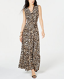 INC Leopard-Print Faux-Wrap Maxi Dress, Created for Macy's