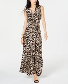 I.N.C. Leopard-Print Faux-Wrap Maxi Dress, Created for Macy's