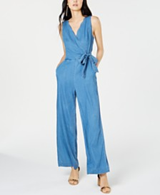 I.N.C. Petite Scalloped Denim Jumpsuit, Created for Macy's