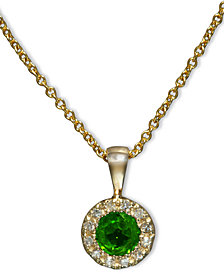 Brasilica by EFFY Emerald (1/3 ct. t.w.) and Diamond Accent Round Button Pendant in 14k Gold, Created for Macy's