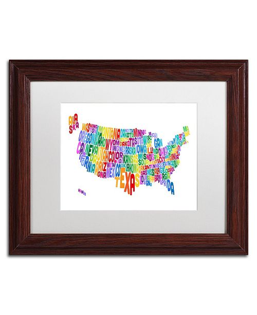 "Trademark Global Michael Tompsett 'US Typography Text Map' Matted Framed Art - 11"" x 14"""