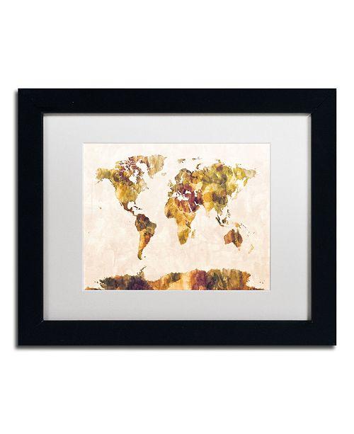 "Trademark Global Michael Tompsett 'World Map Watercolor Painting' Matted Framed Art - 11"" x 14"""