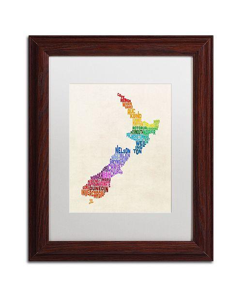 "Trademark Global Michael Tompsett 'New Zealand Typography Map 3' Matted Framed Art - 11"" x 14"""