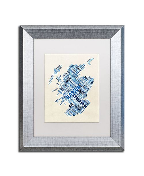 "Trademark Global Michael Tompsett 'Scotland Typography Text Map 5' Matted Framed Art - 11"" x 14"""