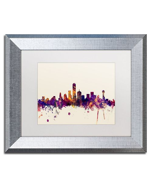 "Trademark Global Michael Tompsett 'Dallas Texas Skyline' Matted Framed Art - 11"" x 14"""