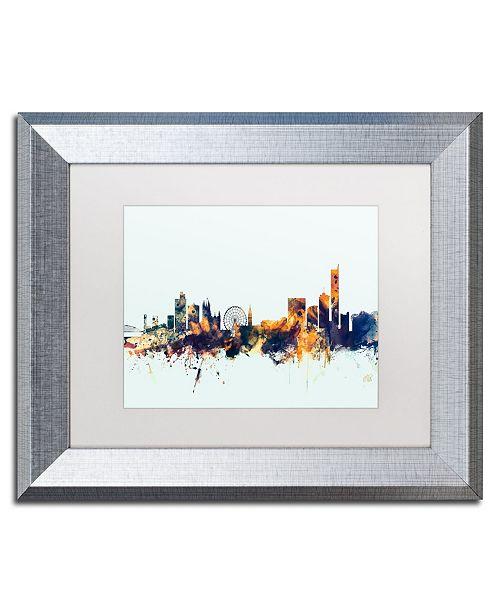 "Trademark Global Michael Tompsett 'Manchester Skyline Blue' Matted Framed Art - 11"" x 14"""