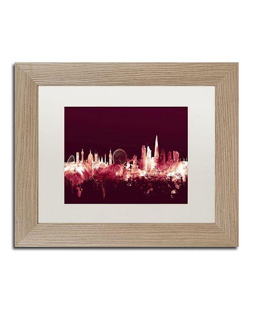 """Trademark Global Michael Tompsett 'London England Skyline Maroon' Matted Framed Art - 11"""" x 14"""""""