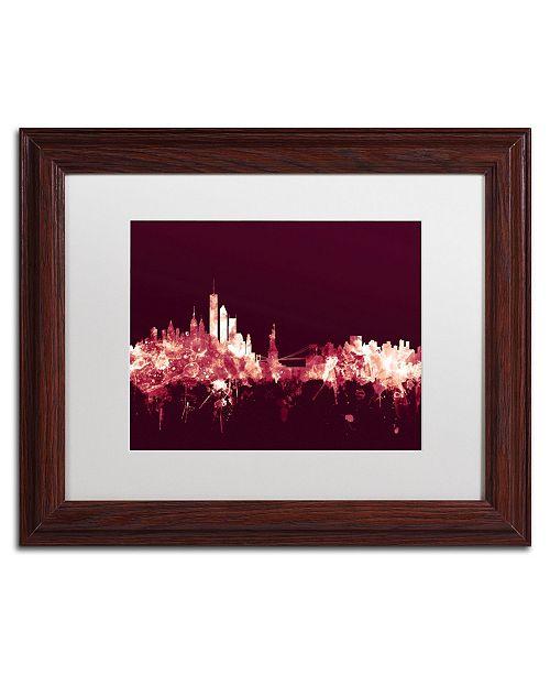 """Trademark Global Michael Tompsett 'New York Skyline Maroon' Matted Framed Art - 11"""" x 14"""""""
