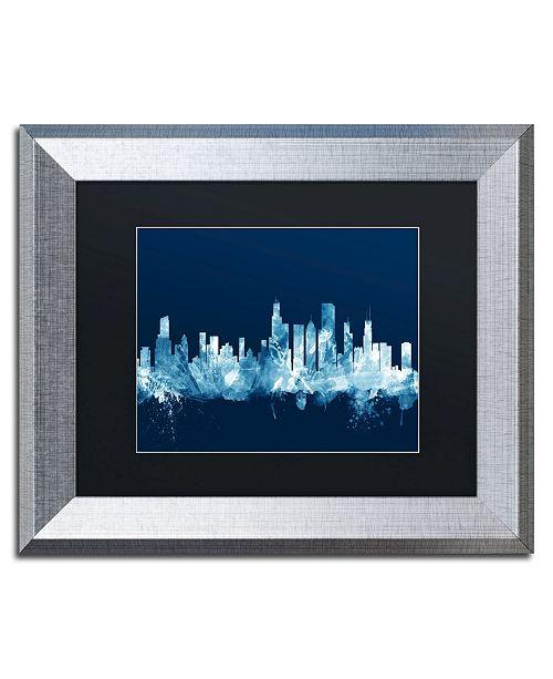 """Trademark Global Michael Tompsett 'Chicago Illinois Skyline Navy' Matted Framed Art - 11"""" x 14"""""""