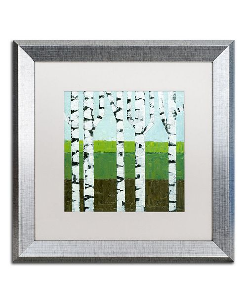 "Trademark Global Michelle Calkins 'Seasonal Birches - Summer' Matted Framed Art - 16"" x 16"""