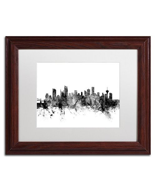 "Trademark Global Michael Tompsett 'Vancouver Canada Skyline B&W' Matted Framed Art - 11"" x 14"""