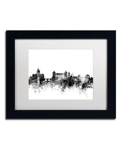 """Trademark Global Michael Tompsett 'Rome Italy Skyline B&W' Matted Framed Art - 11"""" x 14"""""""