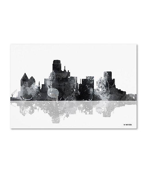 "Trademark Global Marlene Watson 'Dallas Texas Skyline BG-1' Canvas Art - 12"" x 19"""