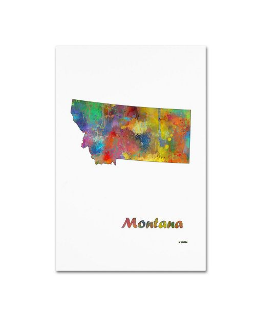 "Trademark Global Marlene Watson 'Montana State Map-1' Canvas Art - 12"" x 19"""
