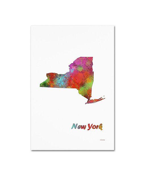 "Trademark Global Marlene Watson 'New York State Map-1' Canvas Art - 12"" x 19"""