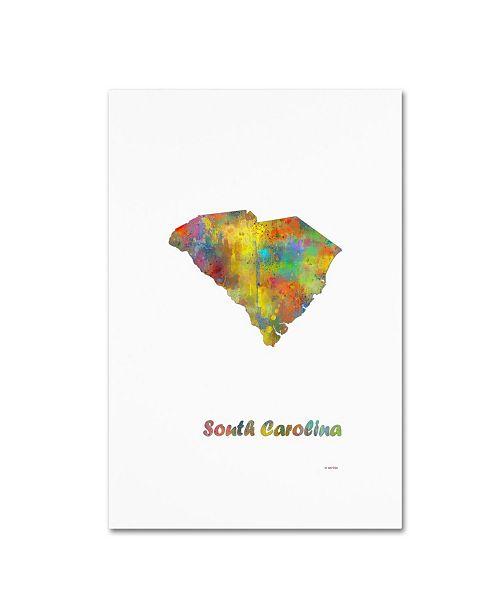 "Trademark Global Marlene Watson 'South Carolina State Map-1' Canvas Art - 12"" x 19"""