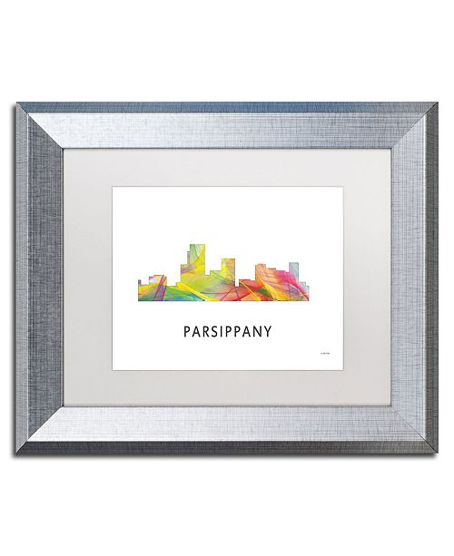 "Trademark Global Marlene Watson 'Parsippany New Jersey Skyline WB-1' Matted Framed Art - 11"" x 14"""