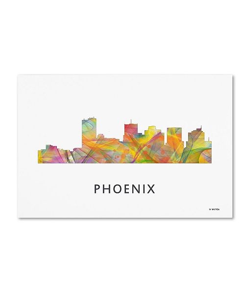 "Trademark Global Marlene Watson 'Phoenix Arizona Skyline WB-1' Canvas Art - 12"" x 19"""