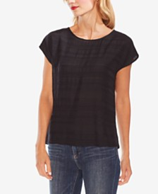 Vince Camuto Round-Neck Jacquard Striped Top