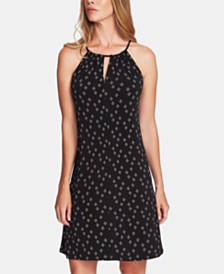 Vince Camuto Printed Keyhole Dress