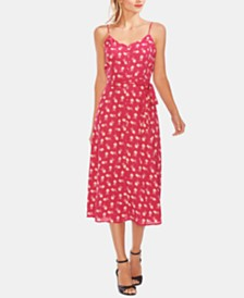 Vince Camuto Printed Button-Down Sleeveless Dress