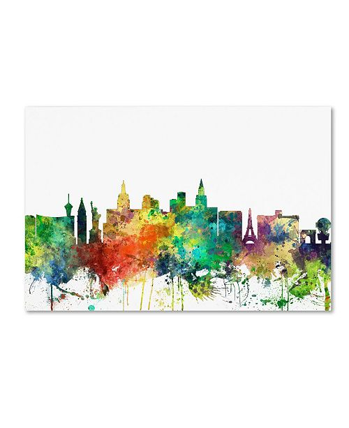 "Trademark Global Marlene Watson 'Las Vegas Nevada Skyline SP' Canvas Art - 12"" x 19"""