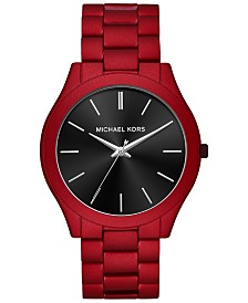 Michael Kors Men's Slim Runway Red Stainless Steel Bracelet Watch 44mm