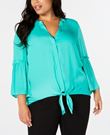 Alfani Plus Size Tie-Hem Lantern-Sleeve Top, Created for Macy's