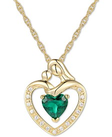 "Lab Created Emerald (5/8 ct. t.w.) & White Sapphire Accent Mother and Child 18"" Pendant Necklace in 14k Gold Over Sterling Silver"