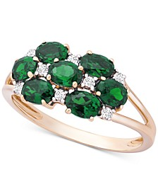 Emerald (1-1/8 ct. t.w.) & Diamond (1/10 ct. t.w.) Statement Ring in 14k Gold