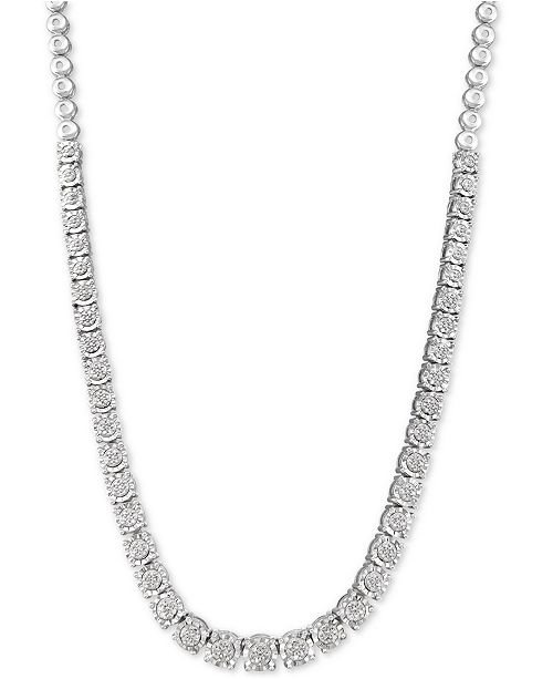 "Macy's Diamond 18"" Statement Necklace (1/3 ct. t.w.) in Sterling Silver"